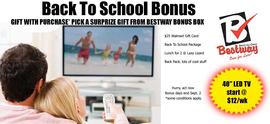 back to school gift with purchase bestway rent2own. Black Bedroom Furniture Sets. Home Design Ideas